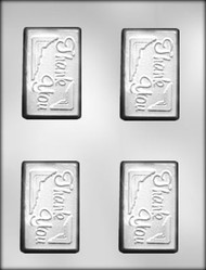 "3-1/4"" THANK YOU CARD/BAR CHOCOLATE CANDY MOLD"