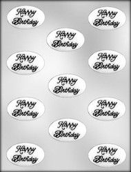 "1-7/8"" OVAL BIRTHDAY MINT CHOCOLATE CANDY MOLD"