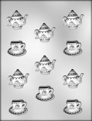 "1-1/2"" CUP & SAUCER & 1-3/4"" TEAPOT CHOCOLATE CANDY MOLD"