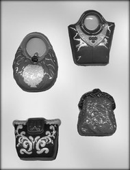 "2-1/4"" - 3-1/4"" PURSE ASSORTMENT CHOCOLATE CANDY MOLD"