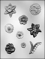 "3/4"" - 2-7/8"" ASSORTED FLOWER CHOCOLATE CANDY MOLD"
