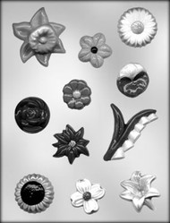 "1-1/2"" - 3"" FLOWER ASSORTMENT CHOCOLATE CANDY MOLD"