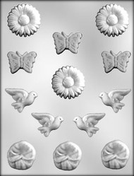 "1/2"" - 1"" MINI FLOWER ASSORTMT CHOCOLATE CANDY MOLD"