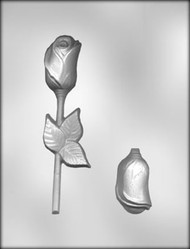 "6-1/2"" 3-D ROSE W/LEAF CHOCOLATE CANDY MOLD"