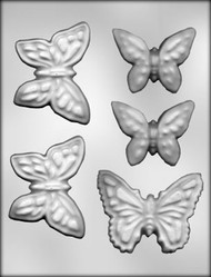 "2-1/2"" & 3-1/2"" BUTTERFLY ASSORTMT CHOCOLATE CANDY MOLD"