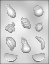 "1-1/4"" - 2-1/4"" MIXED FRUIT ASSORTMT CHOCOLATE CANDY MOLD"