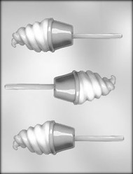"3-1/2"" ICE CREAM CONE SUCKER CHOCOLATE CANDY MOLD"