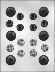 "1-1/8"" & 1-1/2"" FANCY ROUNDS ASSORT. CHOCOLATE CANDY MOLD"