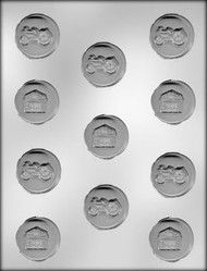 "1-3/8"" TRACTORS & BARNS CHOCOLATE CANDY MOLD"