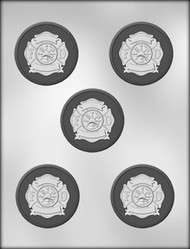"2-1/2"" CIRCLE W/FIRE DEPT CHOCOLATE CANDY MOLD"
