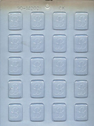 "1-1/4"" INITIAL B MINT CHOCOLATE CANDY MOLD"