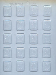 """1-1/4"""" INITIAL D MINT CHOCOLATE CANDY MOLD"""