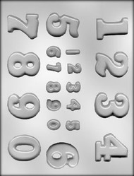 """3/4"""" - 1-5/8"""" ASSORTED NUMBER CHOCOLATE CANDY MOLD"""
