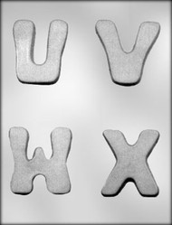 "2-3/4"" U-V-W-X CHOCOLATE CANDY MOLD"