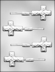 "2-1/4"" CROSS/SCROLL SUCKER CHOCOLATE CANDY MOLD"