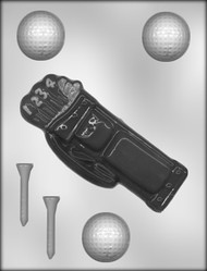"6-3/8"" GOLF BAG & 1-5/8"" BALL CHOCOLATE CANDY MOLD"