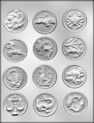 "1-7/8"" ZODIAC MINT CHOCOLATE CANDY MOLD"