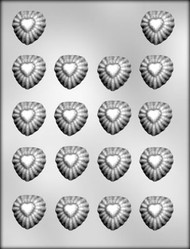 "1-3/8"" SUNBURST HEART CHOCOLATE CANDY MOLD"