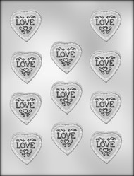 "2-1/2"" L-O-V-E W/SM HEARTS CHOCOLATE CANDY MOLD"