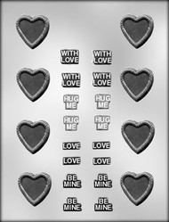 "1-1/2"" HEART & MESSAGES CHOCOLATE CANDY MOLD"