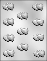 "1"" DOUBLE HEART CHOCOLATE CANDY MOLD"
