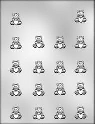 "7/8"" ITTY BITTY BEAR W/HRT CHOCOLATE CANDY MOLD"