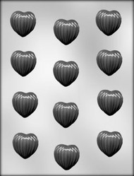 "1-1/4"" RIBBED HEART CHOCOLATE CANDY MOLD"