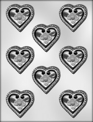 "2-1/8""HEART W/FLOWERS CHOCOLATE CANDY MOLD"