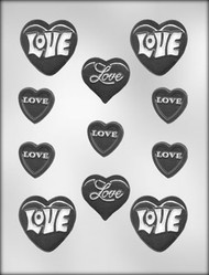 "2-1/8"" - 1-1/8""HRTS W/LOVE ASST CHOCOLATE CANDY MOLD"