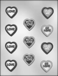 "1-1/2"" HEART W/MESSAGES CH MOLD"