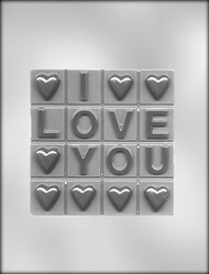 "5-1/4"" I LOVE YOU BAR CHOCOLATE CANDY MOLD"