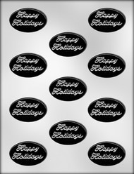 "2"" HAPPY HOLIDAYS/OVAL CHOCOLATE CANDY MOLD"