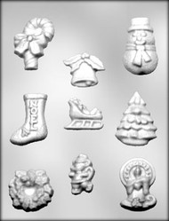 "1-9/16"" - 2-9/16"" CHRISTMAS ASSORTMENT CHOCOLATE CANDY MOLD"