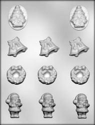 "1-7/16"" - 2"" CHRISTMAS ASSORTMENT CHOCOLATE CANDY MOLD"