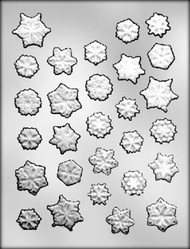 "15/16"" - 1-1/4"" SNOWFLAKE ASSORTMENT CHOCOLATE CANDY MOLD"