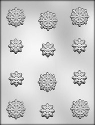 "1-1/8"" & 1-1/2"" SNOWFLAKES CHOCOLATE CANDY MOLD"