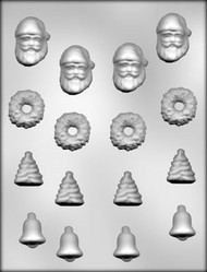 "1-1/4"" - 1-3/4"" CHRISTMAS ASSORTMENT CHOCOLATE CANDY MOLD"