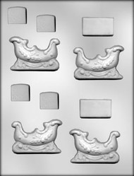 "2-5/8"" SLEIGH 3D CHOCOLATE CANDY MOLD"