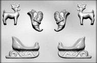 "2-3/8"" - 4-3/4"" 3D SLEIGH CHOCOLATE CANDY MOLD"