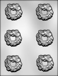 "2-1/4"" HOLLY WREATH CHOCOLATE CANDY MOLD"