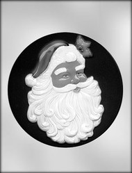 "6-1/8"" ROUND SANTA PLAQUE CHOCOLATE CANDY MOLD"
