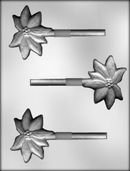 "3"" POINSETTIA SUCKER CHOCOLATE CANDY MOLD"