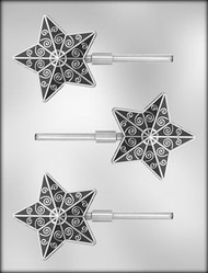 "3"" FANCY STAR SUCKER CHOCOLATE CANDY MOLD"