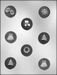 "1-5/8"" CHRISTMAS MINT ASST CHOCOLATE CANDY MOLD."