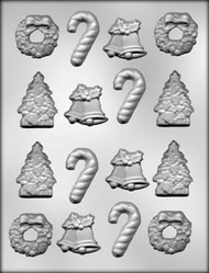 "1-5/8"" - 2"" CHRISTMAS ASSORTMENT CHOCOLATE CANDY MOLD."