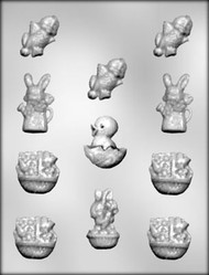 "2-1/4"" - 1-1/2"" EASTER ASSORTMENT CHOCOLATE CANDY MOLD"