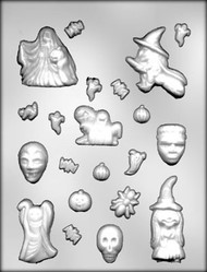 "5/8""-3-1/8"" HALLOWEEN ASSTMT CHOCOLATE CANDY MOLD"