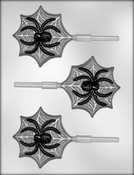 "3-1/2"" SPIDER ON WEB SUCKER CHOCOLATE CANDY MOLD"