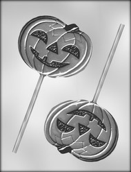"4-1/4"" JACK O LANTERN SUCKER CHOCOLATE CANDY MOLD"