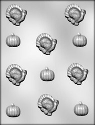 "1-1/8"" - 1-5/8"" TURKEY/PUMPKIN CHOCOLATE CANDY MOLD"